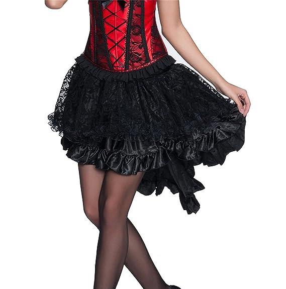 Targogo Faldas Mujer Negro Goticos Steampunk Irregular Falda Años ...