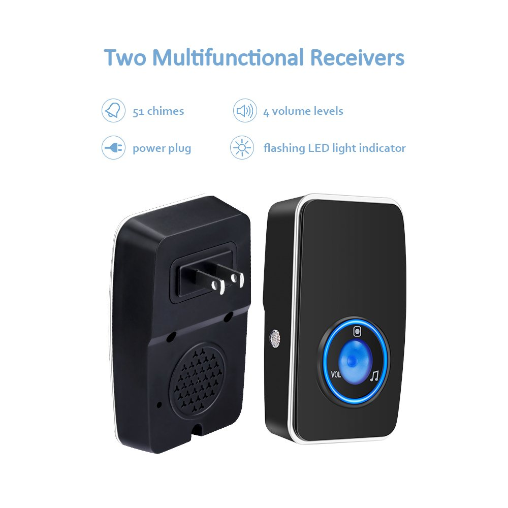 Wireless Doorbell Waterproof Aurtec Door Chime Kit With 2 Plug In Led Flash Receivers 1 Press Self Powered Transmitter 51 Chimes 4 Volume Levels Equipment Indicator Using Two
