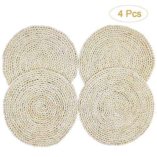 - Grandwish 4Pcs Round Corn Weave Placemats, Braided Rattan Table Mats, 12