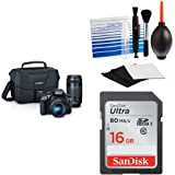 Canon EOS Rebel T6 Digital SLR Camera Kit with EF-S 18-55mm and EF 75-300mm Zoom Lenses (Black) + Free 16GB Memory Card and Cleaning Kit