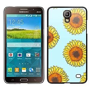 Patrón de girasol floral azul amarillo - Metal de aluminio y de plástico duro Caja del teléfono - Negro - Samsung Galaxy Mega 2