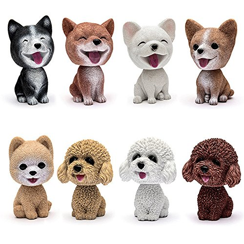 Comidox Handmade childhood memory BobbleHead Dogs Car Dash Puppy for Car Vehicle decoration rocking head dog made by superior Natural Resin Corgi 1pc