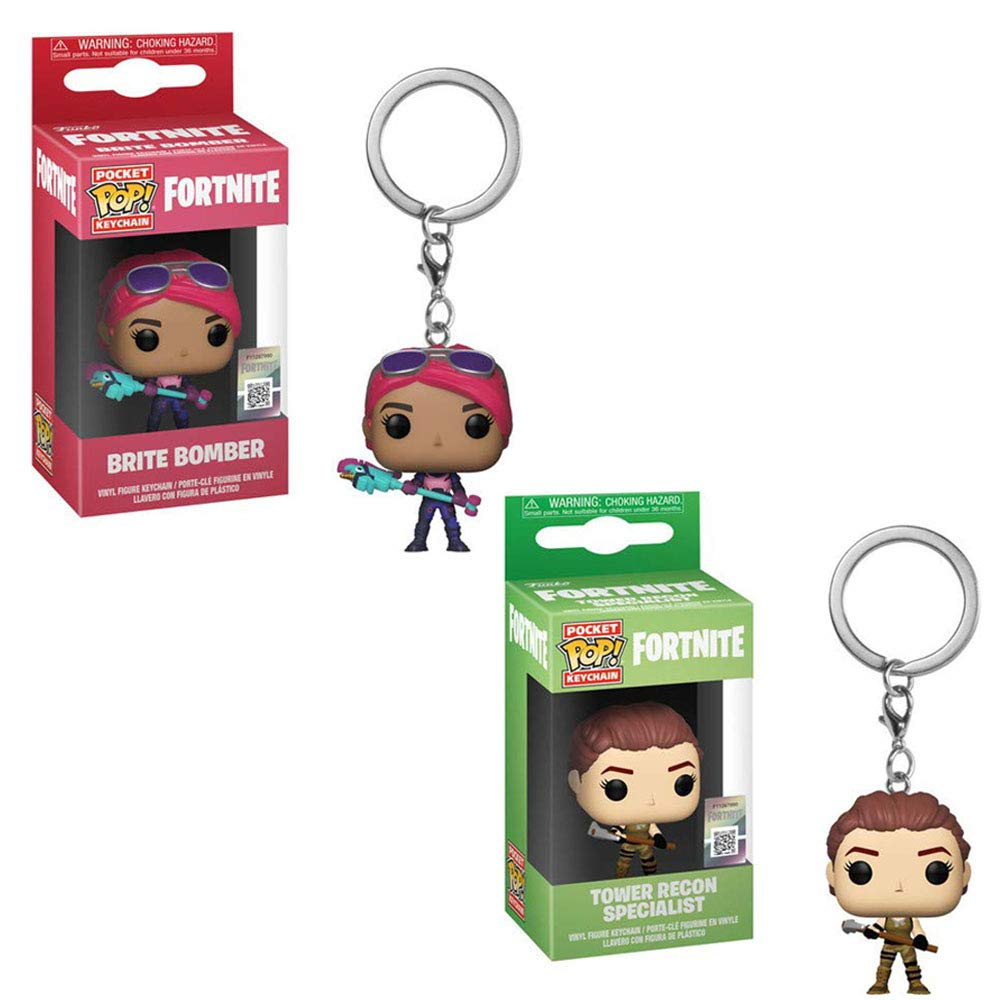 Funko Pocket POP! Games Fortnite: Brite Bomber Girl and Tower Recon Specialist Keychain Key Chain Toy Action Figures - 2 Piece Bundle