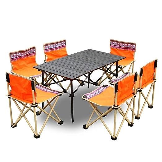 LPYMX Mesa y Silla de Camping Plegable 6 sillas Set jardín terraza ...
