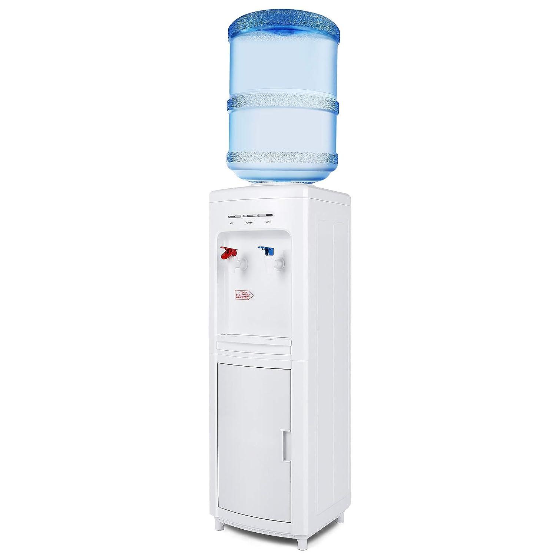 Top Load Electric Water Dispenser Storage 5 Gallon Normal Temperature & Hot Temperature Storage Cabinet White
