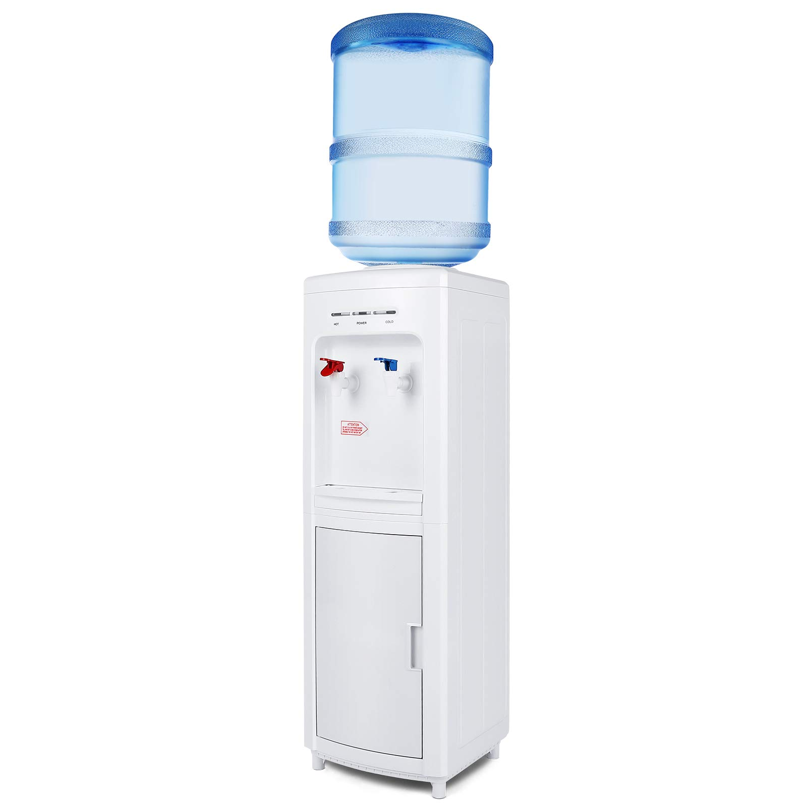 Top Load Electric Water Dispenser Storage 5 Gallon Normal Temperature & Hot Temperature Storage Cabinet White by 4-EVER