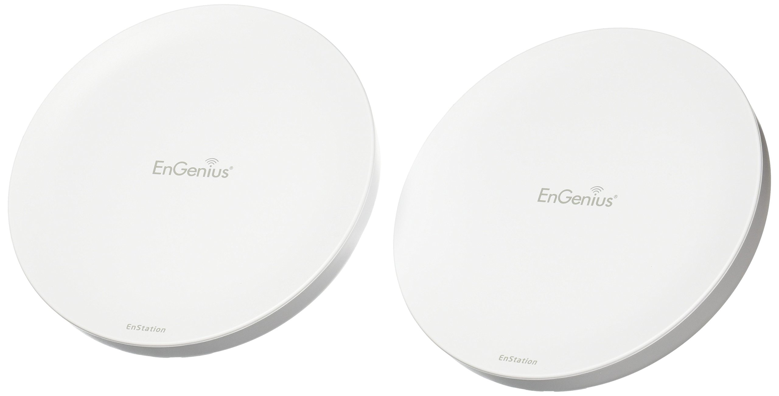 EnGenius 80211n 2x2, 5GHz, high-powered, long range, Wireless Outdoor Client Bridge/CPE/AP, directional antenna, long-range, point-to-point, IP55, 26 dBm,19 dBi, two Ethernet Port, PoE Injector included [2-Pack] (N-EnStation5 Kit)