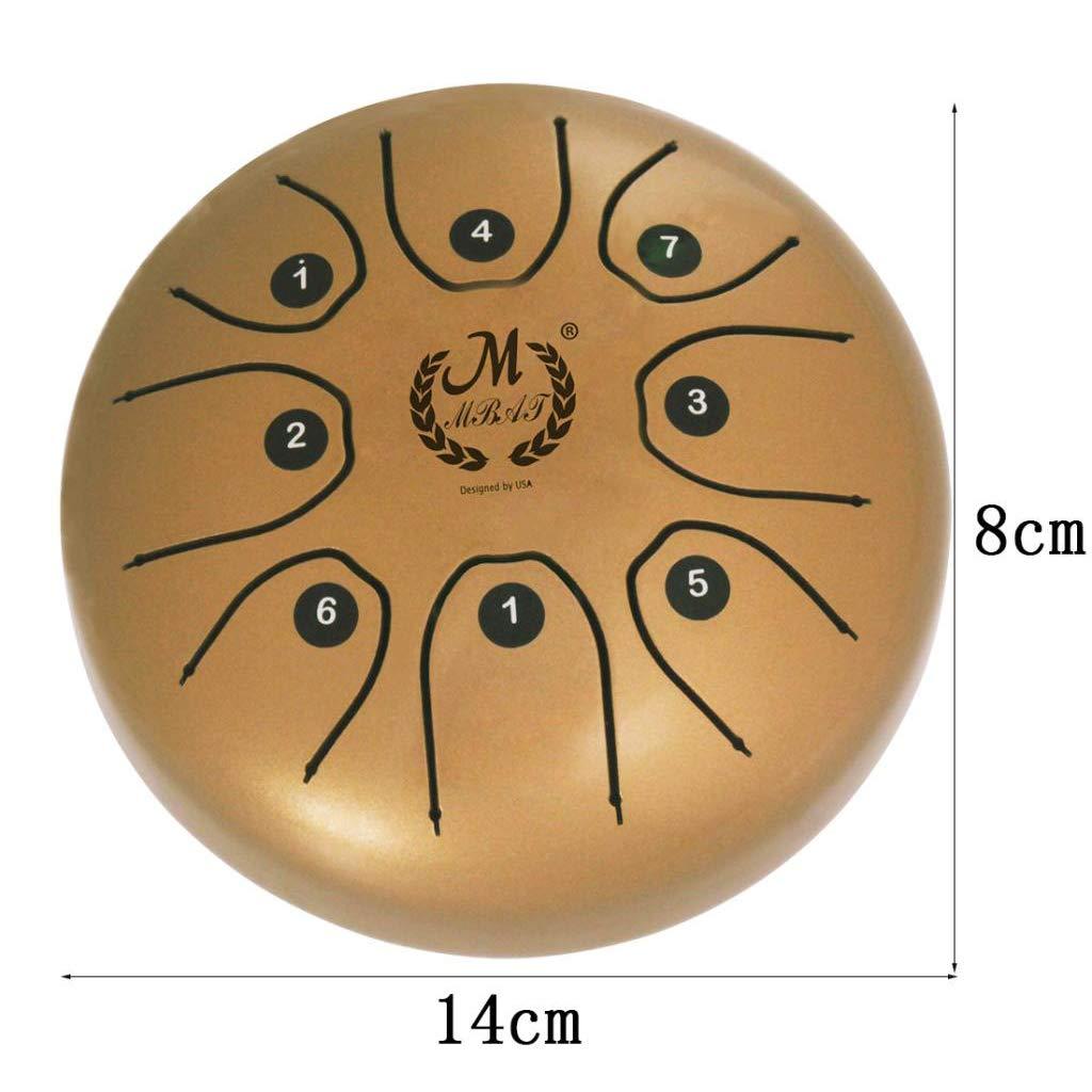 Sharplace Mango de 5,5de Acero con Tambor Mazos Bolsa de Transporte para Meditaci/ón Dorado como se describe