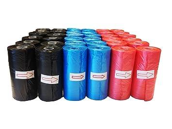 Improhome - Bolsa caca perro, bolsa excremento perro - 10 rollos - 20 bolsas por rollo - 200 bolsas en total - Colores al azar, rojo, azul y negro