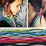 DEEKA 100% Wool & All Handmade Dreadlocks Extensions / Braiding Hair / Reggae Hair From Nepal for Hippie Tribal (Pack of 2 PCS, Color 3)