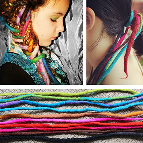 DEEKA 100% Wool & All Handmade Dreadlocks Extensions/Braiding Hair/Reggae Hair from Nepal for Hippie Tribal (Pack of 4 PCS, Color 9)