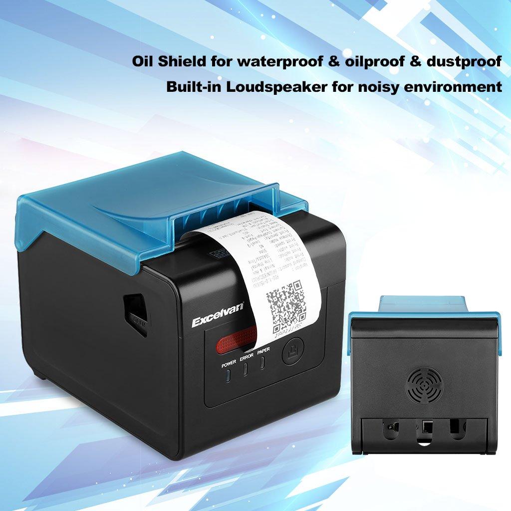Excelvan 300mm/sec 80mm AUTO-CUT Thermal Receipt Printer USB Ethernet  Serial Port Special for Kitchen(Black)