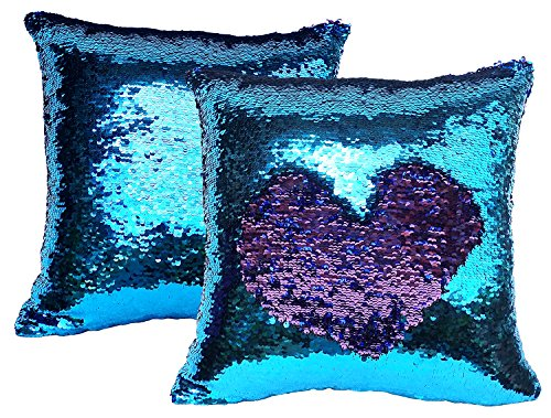 BDJ Glittering Sequin Color Changing Reversible Throw Pillow Case Cushion Cover 16 x 16 Inches Set of 2 (Aquamarine-purple) (Sequin Argyle Sweater)