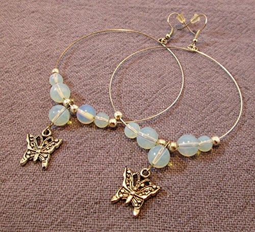 rings, silver butterfly charms (Butterfly Faux Earrings)