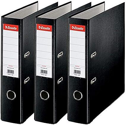 Esselte 624294 - Archivador con anillas (Capacidad 550 hojas, 3 unidades), negro, 75 mm: Amazon.es: Oficina y papelería