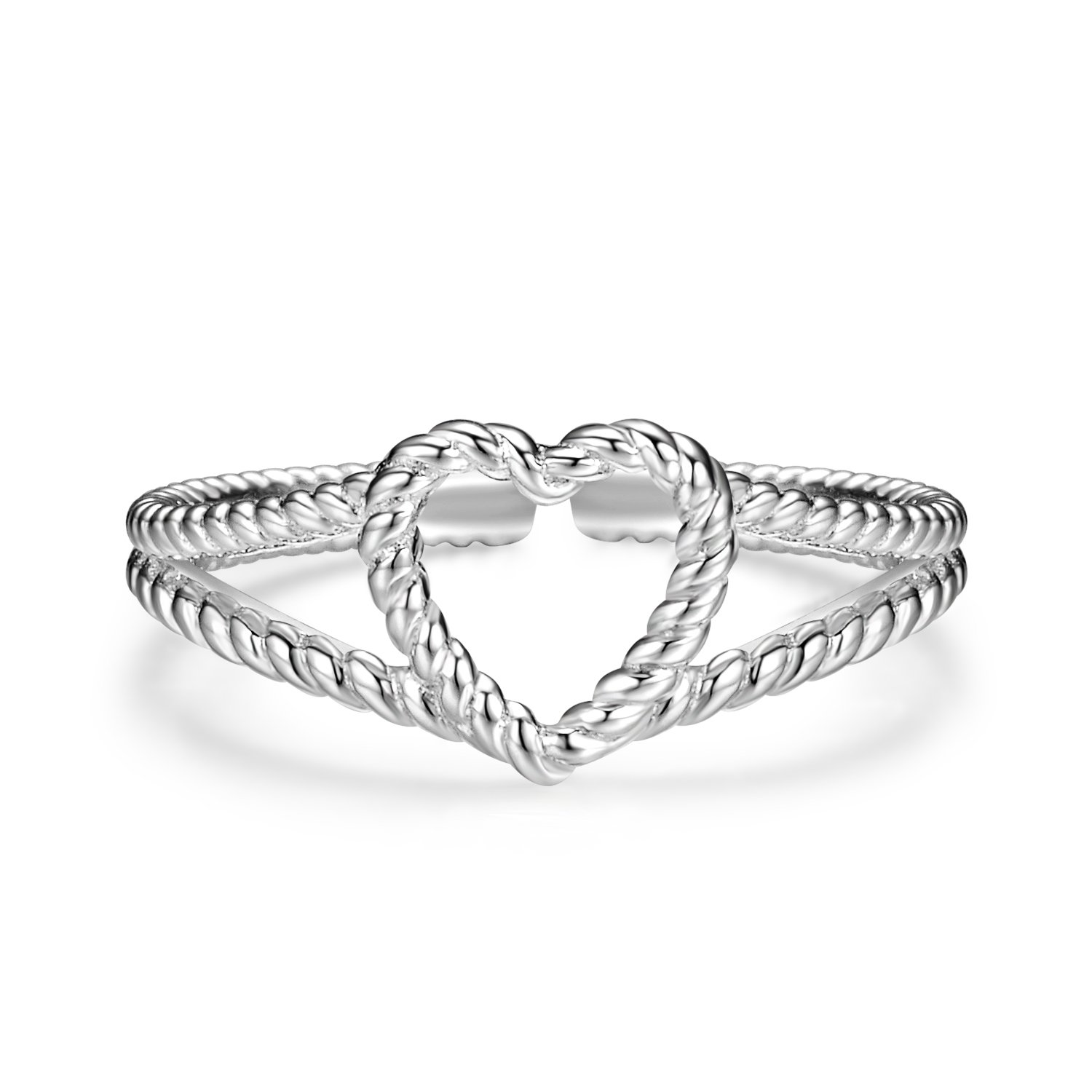 Sterling Silver Rings Eternity Rope Love Heart Resizable Twisted Wedding Anniversary Valentine Promise Rings Women, Size 6.5