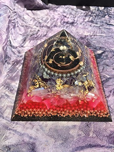 Triple Orgone Anti Stress Generator Amethyst/Rose Quartz Pyramid by Sedona Orgone Vortex