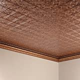 FASÄDE Easy Installation Traditional Style/Pattern #4 Cracked Copper Glue Up Ceiling Tile/Ceiling Panel