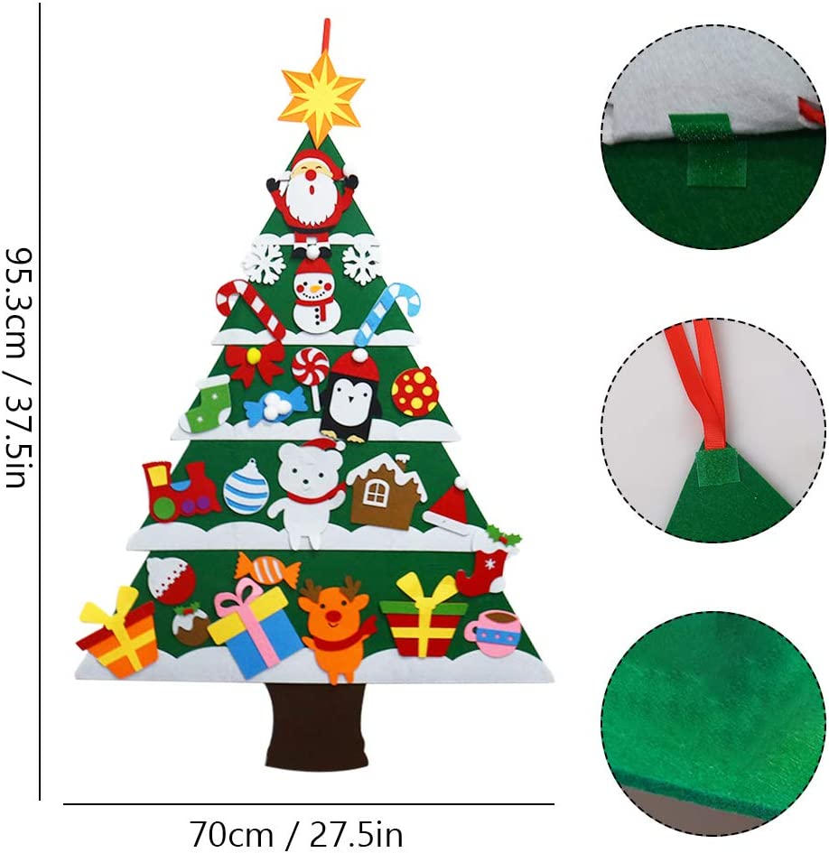 Bestine DIY Felt Christmas Tree with 30pcs Ornaments Xmas Gifts Home Door Wall Decoration for Kids New Year Handmade Christmas Door Wall Hanging Decorations