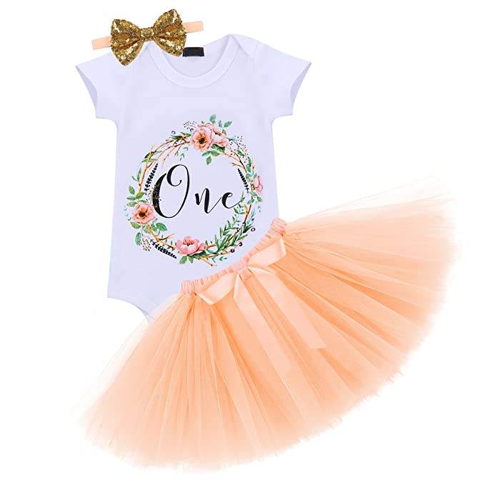 dd007a6459 Baby Girls Flower One Year 1st Birthday Outfit Sequin Bowknot ...
