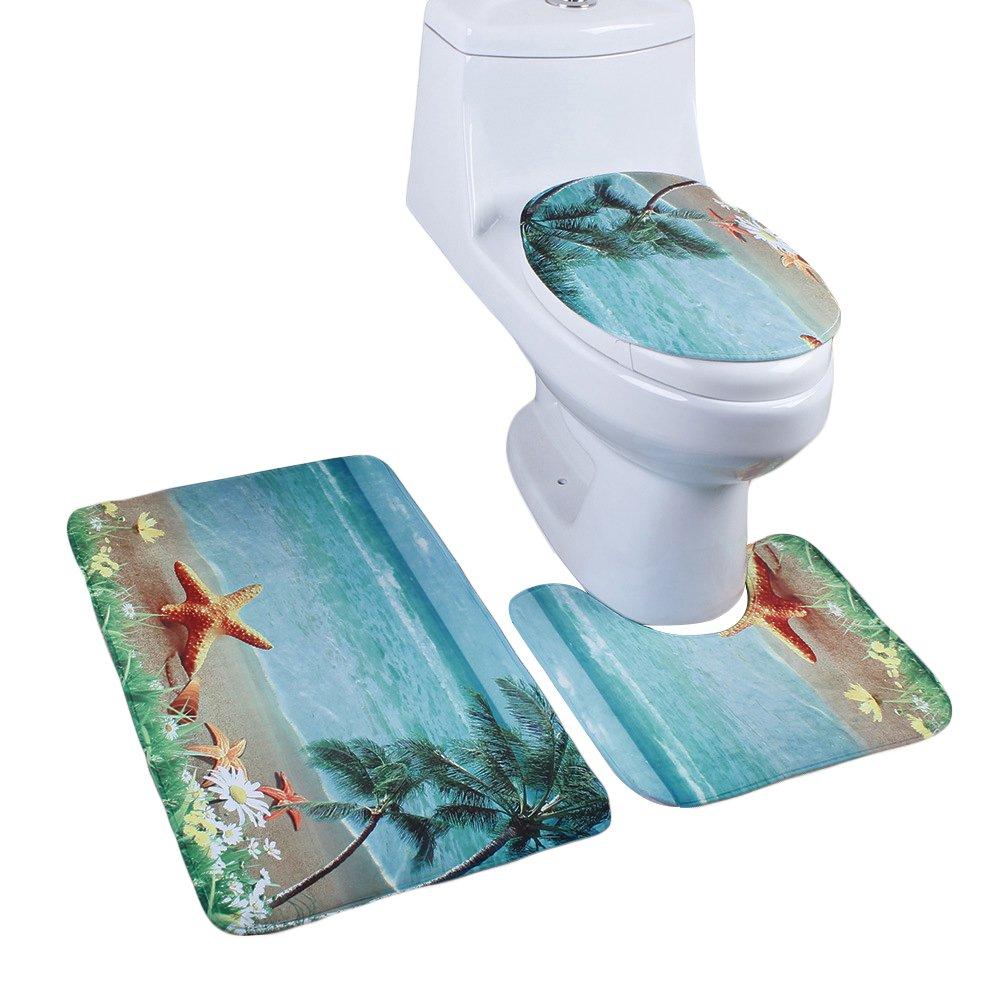 Jillban 3 Piece Bathroom Rug Set Non-slip Bath Mat Contour Lid Toilet Cover Rug Sea Beach Design