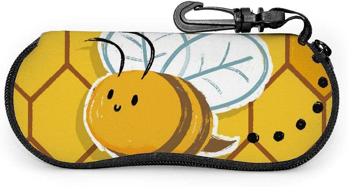 Carneg Gafas de sol con diseño de abeja Erson portátil con hebilla de bloqueo Bolso suave Funda de gafas con cremallera de tela de buceo ultraligera GLC-408