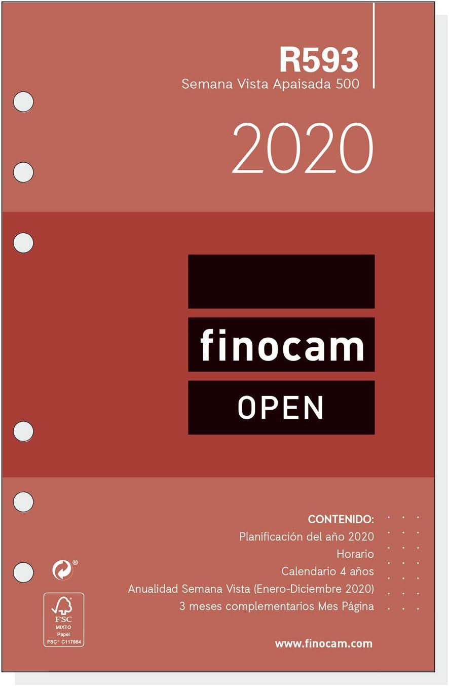 Recambio Anual 2020 semana vista apaisada Open R1093C catal/án Finocam 1000-155x215 mm