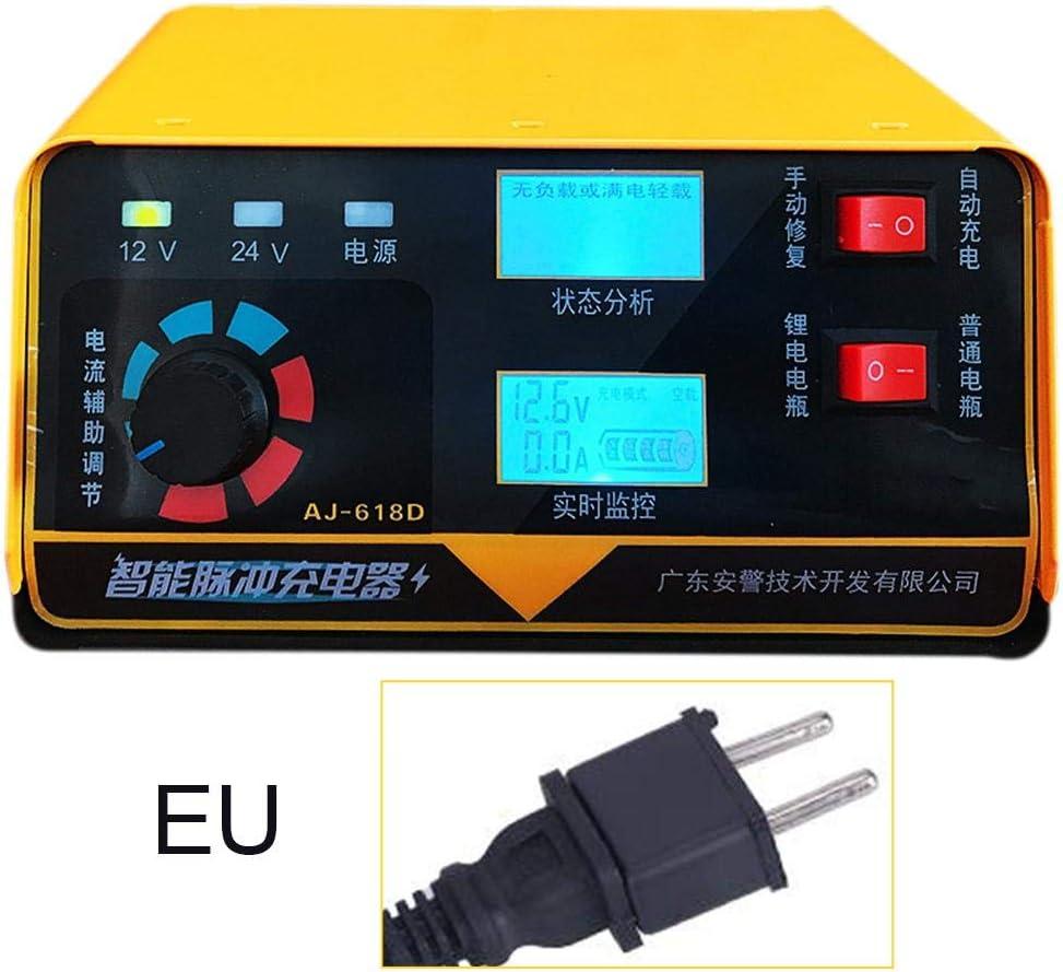 SunniY Cargador de batería, Cargador de batería Inteligente de 12V 24V para la protección Fuerte del Coche