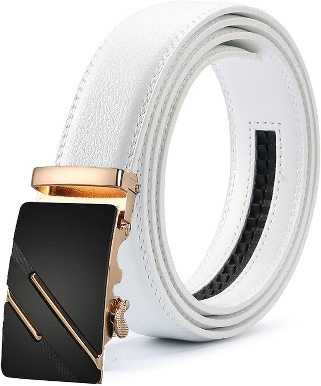 New Mens Fashion Automatic Buckle Leather Luxury Man cinturones hombre Black white Belt Alloy buckle White belt for Men,24,120cm