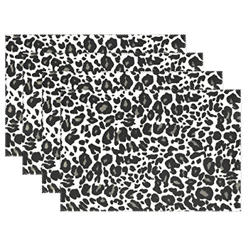 WOZO Leopard Print Placemat Table Mat, Animal Zebra Print 12'' x 18'' Polyester Table Place Mat for Kitchen Dining Room Set of 4 by WOZO