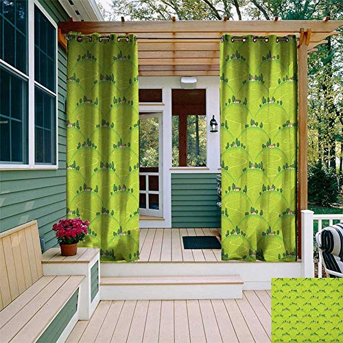 leinuoyi Rural, Outdoor Patio Curtains, Italian Country House Hills Village Panorama on Mountains Meadow Tuscany Landscape, Outdoor Privacy Porch Curtains W84 x L108 Inch Multicolor
