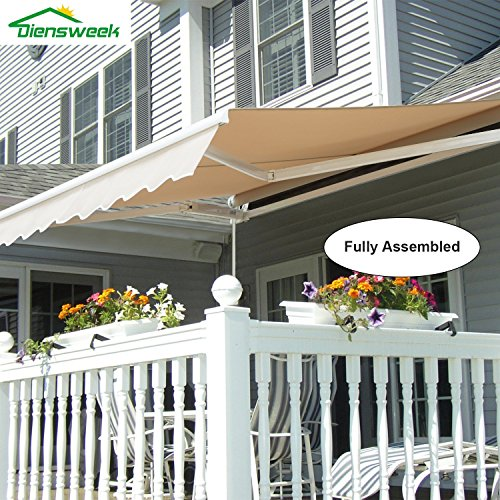 Diensweek 12'x10' Patio Awning Retractable Manual,Commercial Grade, Fully Assembled,100% 280G Polyester Window Door Sunshade Shelter,Deck Canopy Balcony 2 years warranty (12'x10', Beige)