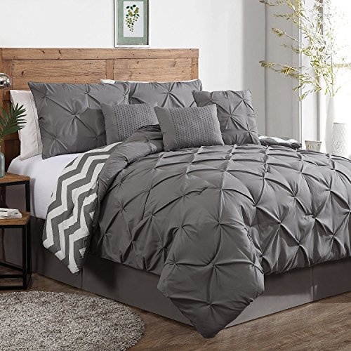 Premium Comforter Sets Queen Full Size Set in 7 Piece Adult Luxury Grey Elegant Design by Geneva Home Fashion