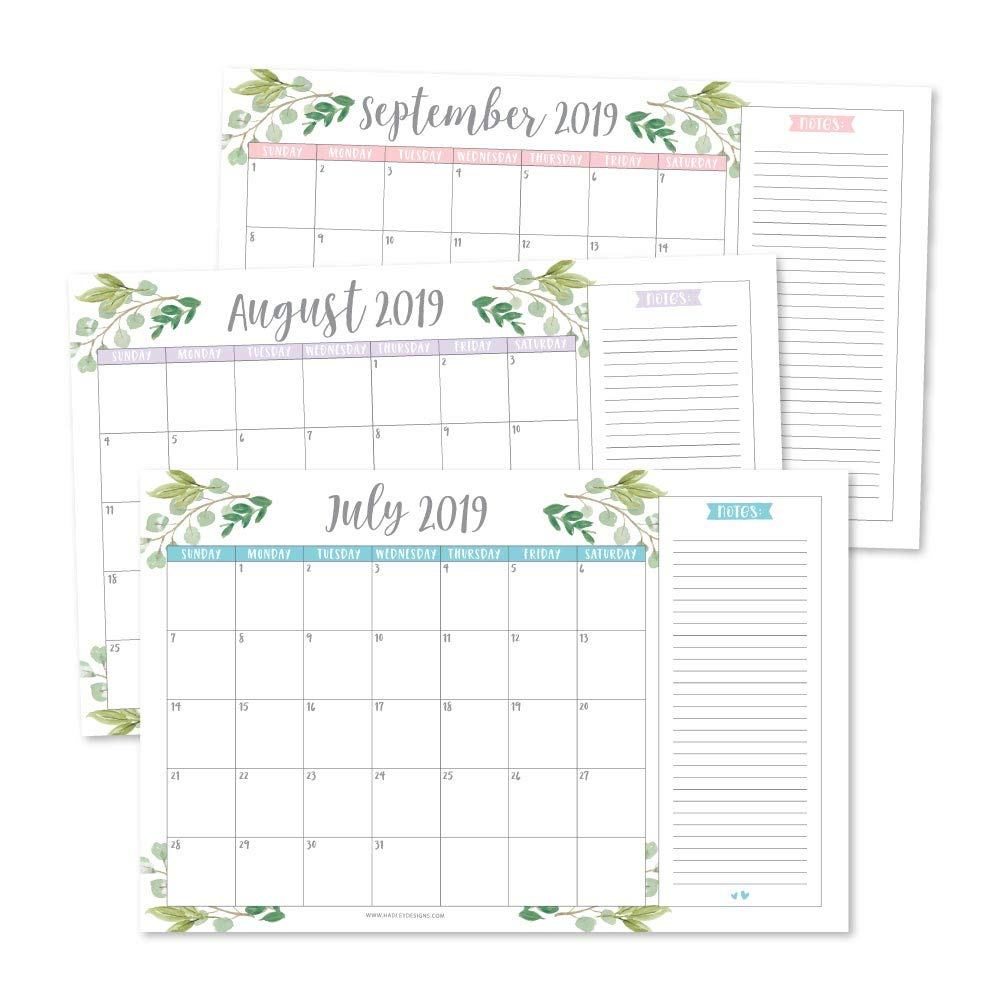 Greenery 2019-2020 Large Monthly Desk or Wall Calendar Planner, Big Giant Planning Blotter Pad, 18 Month Academic Desktop, Hanging 2-Year Date Notepad Teacher, Mom Family Home Business Office 11x17'' by Hadley Designs