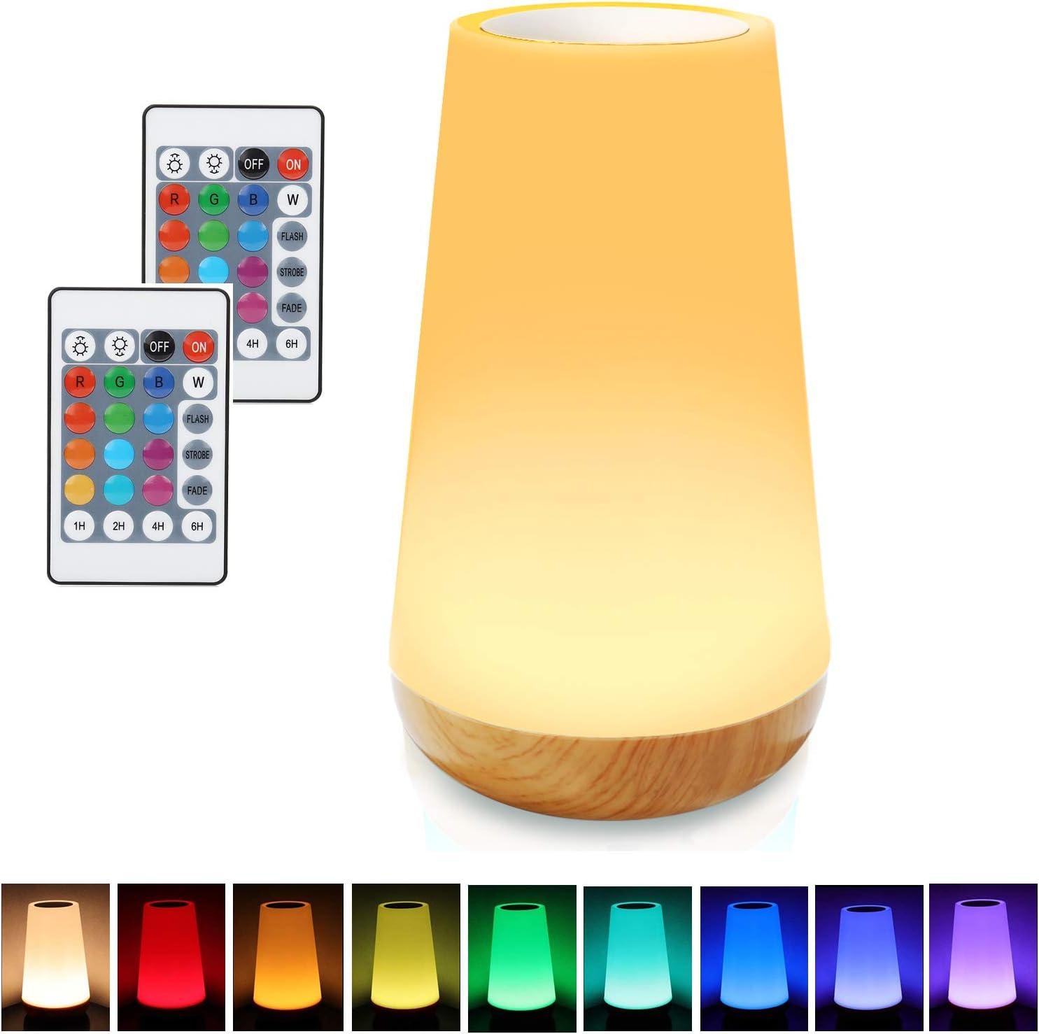 RGB DEL Nuit Lampe de table Variateur Chambre Verre Boule Lampe Télécommande