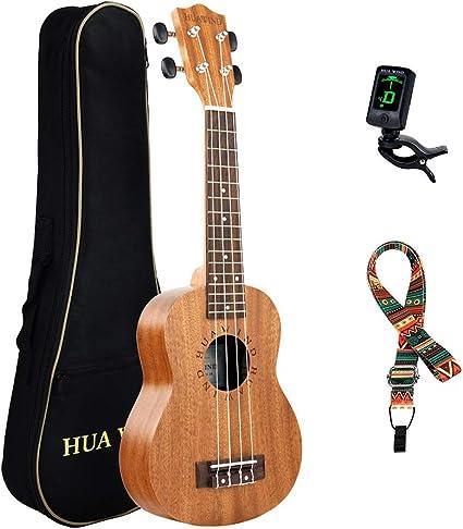Hua Wind Soprano Ukulele 21 pulgadas de caoba para principiantes con Sintonizador, correa: Amazon.es: Instrumentos musicales