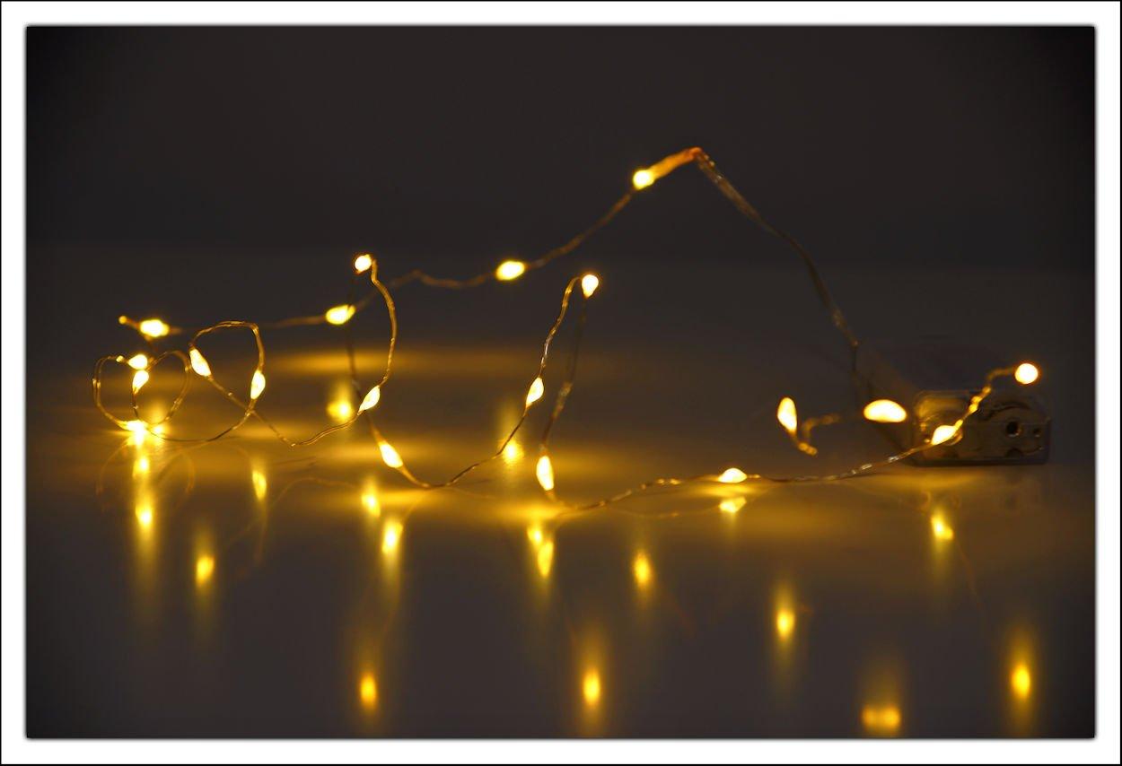 Spetebo LED Micro Lichterkette - 40 LED warmweiß - Draht Lichterkette mit Batteriebetrieb