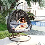 Luxury 2 Person Wicker Swing Chair with Stand and Cushion Outdoor Porch Furniture by Island Gale – Max.528 Lbs – 2 Stands for Extra Safety – Perfect for Patio Garden Indoor Bedroom Reading