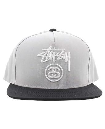 a0bbbe6cd63 Stussy Stock Lock Snapback Hat Black Grey  Amazon.co.uk  Clothing