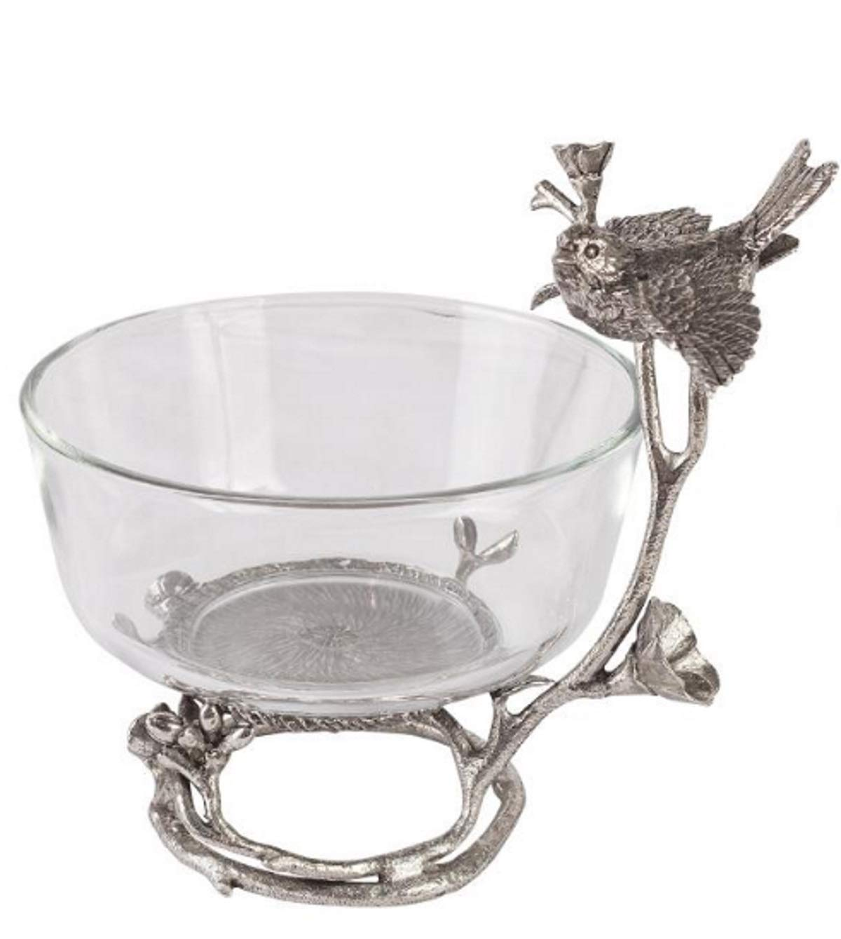 Victorian Trading Co Pewter Perched Sparrow Glass Bowl