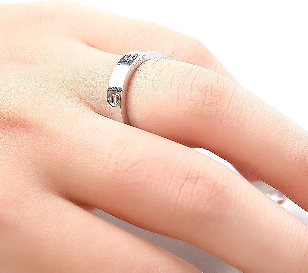 BOMSI Love Ring Fashion Jewelry Stainless Steel for Girls Boy Women Men Christmas Birthday Wedding Gifts