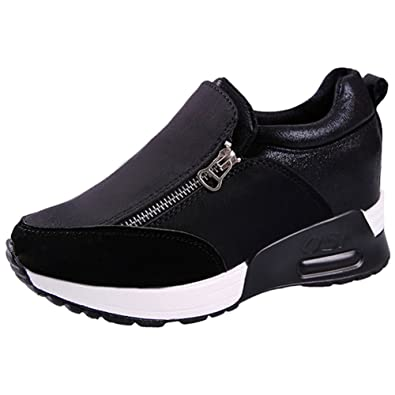 df2bf8eaffe9e Mauea Basket Basses Air Plateforme Compensée Sports Running Femme Sneakers  Chaussures de Coussin D Air