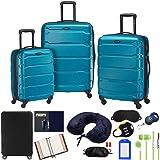 Samsonite 68311-2479 Omni Hardside Luggage Nested Spinner Set 20 Inch, 24 Inch, 28 Inch - Caribbean Blue Bundle w/Deco Gear L