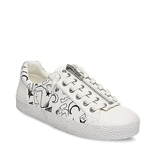 Steve Madden Women's Guilty White Multi Sneaker 7.5 US