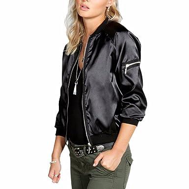 Women Zip Up Classic Satin Baseball Jacket Fall Outdoor Short Black Biker Bomber Jacket Coat