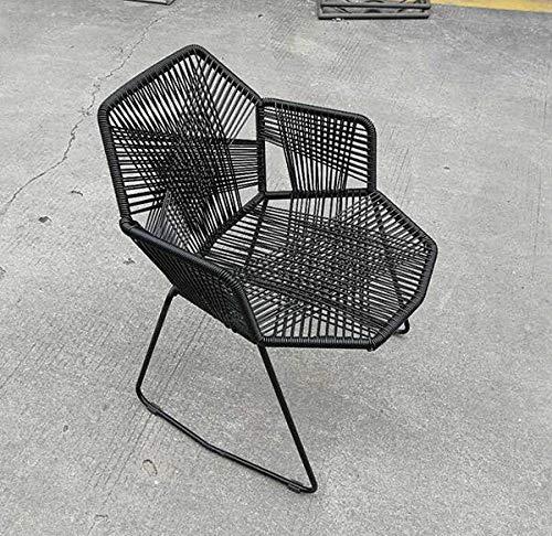 PSSYXT Mesa de Comedor y sillas Minimalista Moderno hogar balcon Patio Exterior Mesa y Silla Silla de ratan Respaldo de Metal Silla de Comedor, BoomClap2