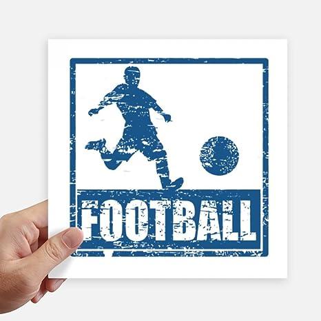DIYthinker Kick Azul del Futbolista fútbol Square Stickers 20cm Pared Maleta portátil Motobike Decal 4 Piezas