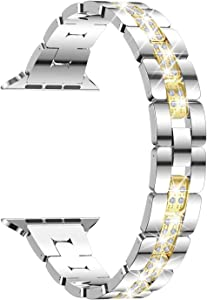 wootfairy Slim Watch Band Compatible with Apple Watch Band 38mm 40mm 42mm 44mm for Women Girls, Stainless Steel Strap Replacement for Watch SE iwatch Series 6/5/4/3/2/1, Silver&Gold 38mm/40mm