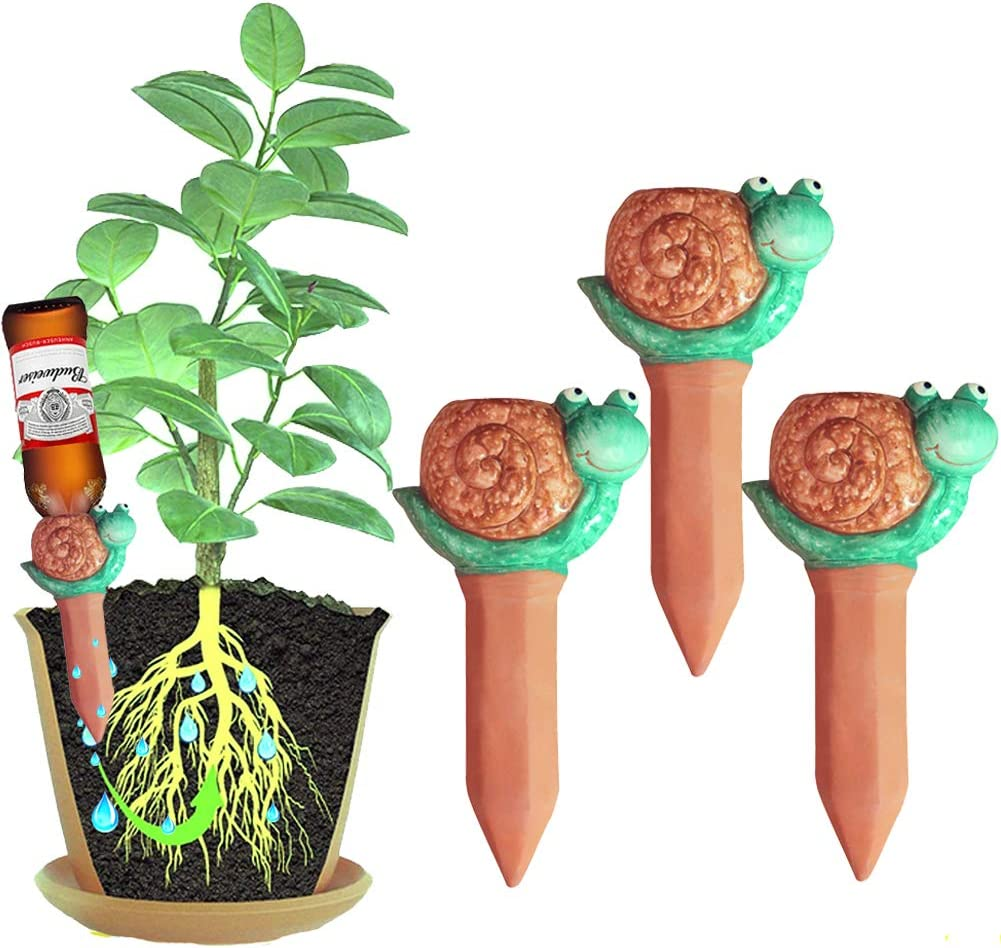 Plant Self-Watering Spikes-Automatic Niu Terracotta Stakes-Vacation Watering Device- Self-Irrigation Watering System-Care for Indoor Outdoor Office Flowers 3 Pack Watering Can Gardening Decorate Gift