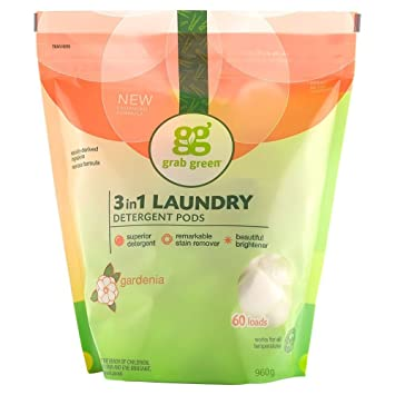 Grab Green Natural 3-In-1 Laundry Detergent Pods, Gardenia, 60 Loads, 38 Ounce